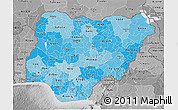 Political Shades 3D Map of Nigeria, desaturated
