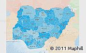 Political Shades 3D Map of Nigeria, lighten