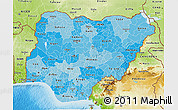 Political Shades 3D Map of Nigeria, physical outside
