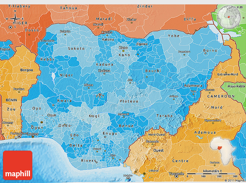 Political Shades 3D Map of Nigeria