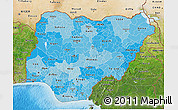 Political Shades 3D Map of Nigeria, satellite outside, bathymetry sea