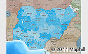 Political Shades 3D Map of Nigeria, semi-desaturated, land only