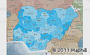 Political Shades 3D Map of Nigeria, semi-desaturated