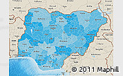 Political Shades 3D Map of Nigeria, shaded relief outside, bathymetry sea