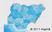 Political Shades 3D Map of Nigeria, single color outside