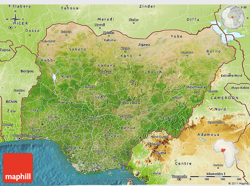 Satellite 3D Map of Nigeria physical outside satellite sea
