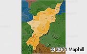 Political Shades 3D Map of Adamwara, darken
