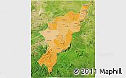 Political Shades 3D Map of Adamwara, satellite outside