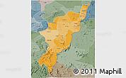 Political Shades 3D Map of Adamwara, semi-desaturated