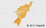 Political Shades 3D Map of Adamwara, single color outside