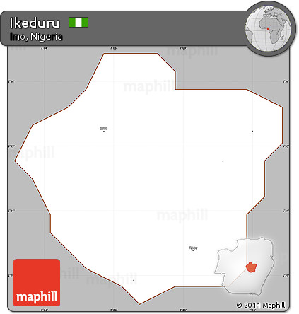 Gray Simple Map of Ikeduru, cropped outside