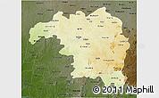 Physical 3D Map of Kaduna, darken