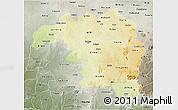 Physical 3D Map of Kaduna, semi-desaturated