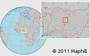 Gray Location Map of Doka/Kaw