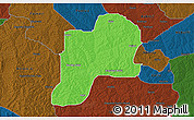 Political 3D Map of Giwa, darken