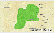 Political 3D Map of Giwa, physical outside