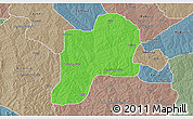 Political 3D Map of Giwa, semi-desaturated