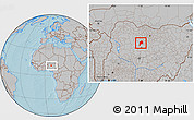 Gray Location Map of Giwa, hill shading