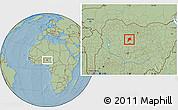 Savanna Style Location Map of Giwa, hill shading