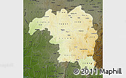 Physical Map of Kaduna, darken