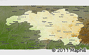 Physical Panoramic Map of Kaduna, darken