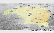 Physical Panoramic Map of Kaduna, desaturated