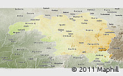 Physical Panoramic Map of Kaduna, semi-desaturated