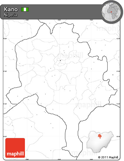Free Blank Simple Map of Kano no labels
