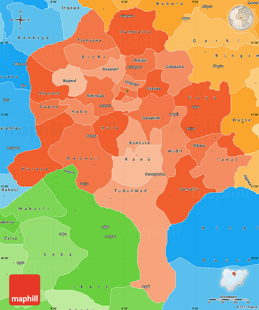 Political Shades Simple Map of Kano