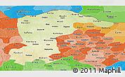 Physical Panoramic Map of Katsina, political shades outside