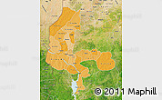 Political Shades Map of Kebbi, satellite outside