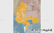 Political Shades Map of Kebbi, semi-desaturated