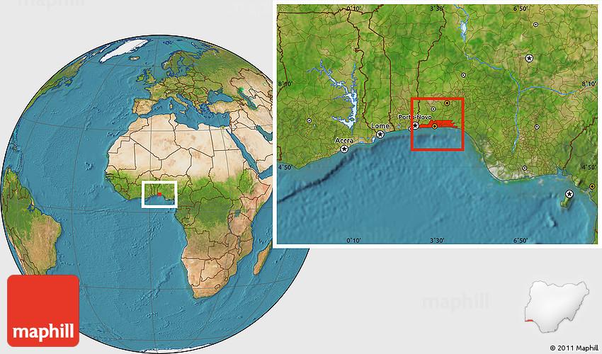 Satellite Location Map of Lagos