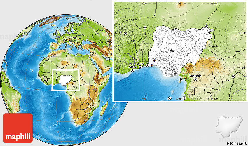 Blank Location Map of Nigeria physical outside