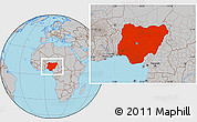 Gray Location Map of Nigeria