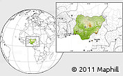 Physical Location Map of Nigeria, blank outside