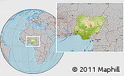 Physical Location Map of Nigeria, gray outside, hill shading