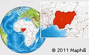 Physical Location Map of Nigeria, highlighted continent