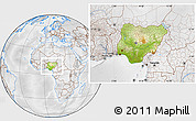 Physical Location Map of Nigeria, lighten, desaturated
