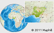 Physical Location Map of Nigeria, lighten, land only