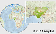 Physical Location Map of Nigeria, lighten
