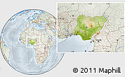 Physical Location Map of Nigeria, lighten, semi-desaturated