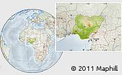 Physical Location Map of Nigeria, lighten, semi-desaturated