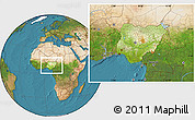 Physical Location Map of Nigeria, satellite outside