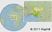 Physical Location Map of Nigeria, savanna style outside, hill shading