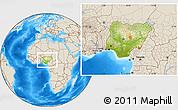 Physical Location Map of Nigeria, shaded relief outside
