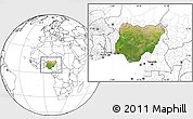 Satellite Location Map of Nigeria, blank outside