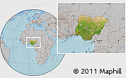 Satellite Location Map of Nigeria, gray outside, hill shading