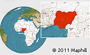 Satellite Location Map of Nigeria, highlighted continent