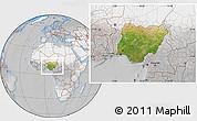 Satellite Location Map of Nigeria, lighten, desaturated